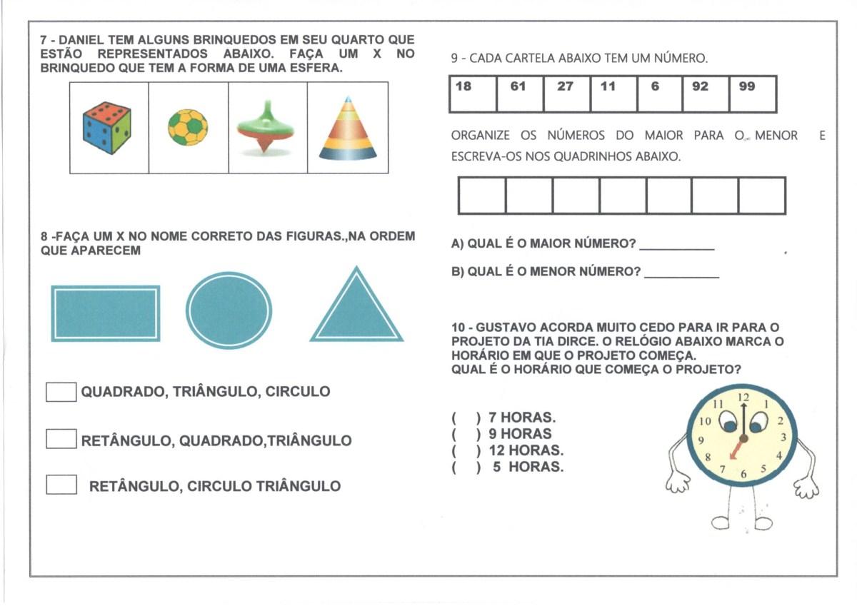 Avaliacao Diagnostica 2 Ano Matematica Parte 2 Alfabetizacao Blog