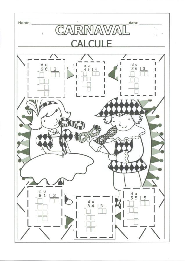 Atividades de Carnaval-Divisão e Multiplicação-Folha 1