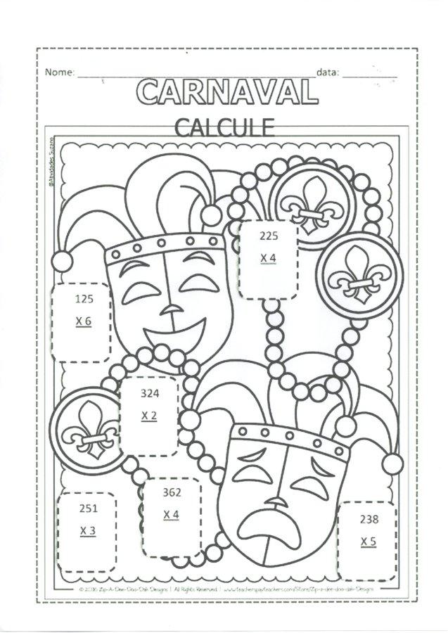 Atividades de Carnaval-Divisão e Multiplicação-Folha 2