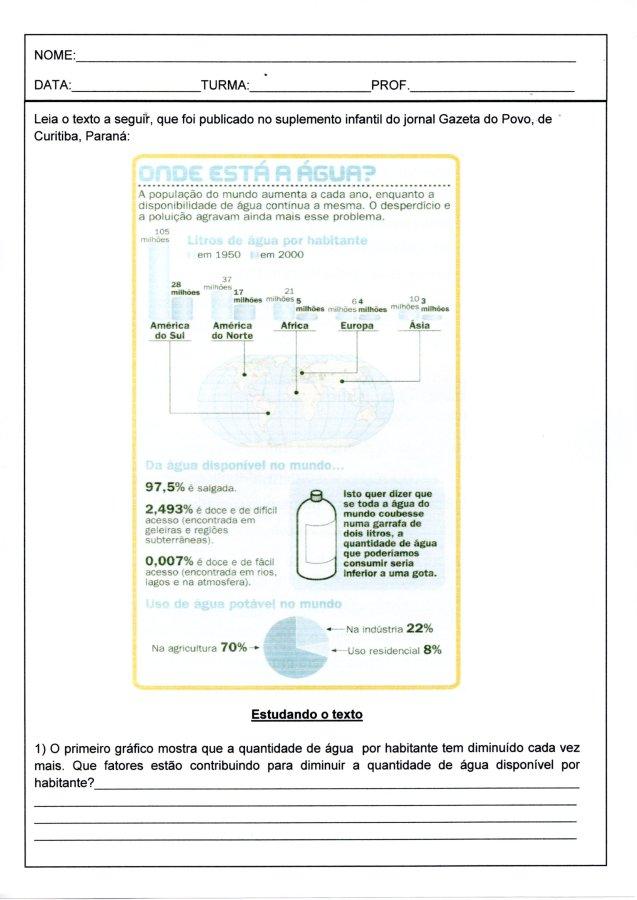 Água-Infográfico para interpretação-Folha 1