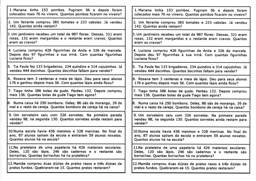 Matemática-Tirinhas para recortar e resolver