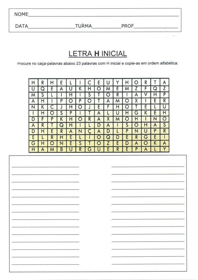 Letra H inicial-Caça-palavras e Ordem alfabética