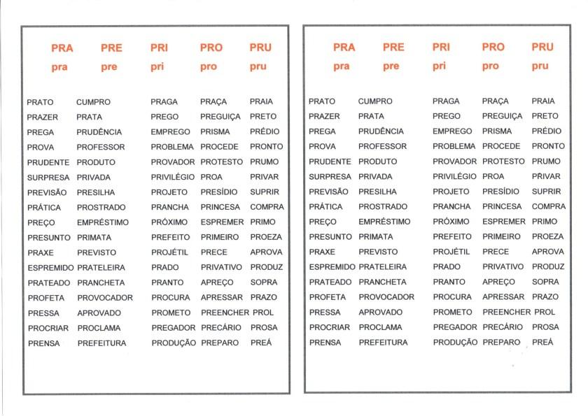Dificuldades ortográficas-Pra Pre Pri Pro Pru