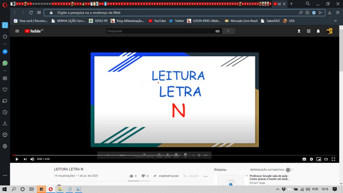 VIDEOAULA-ATIVIDADE DE LEITURA-LETRA N