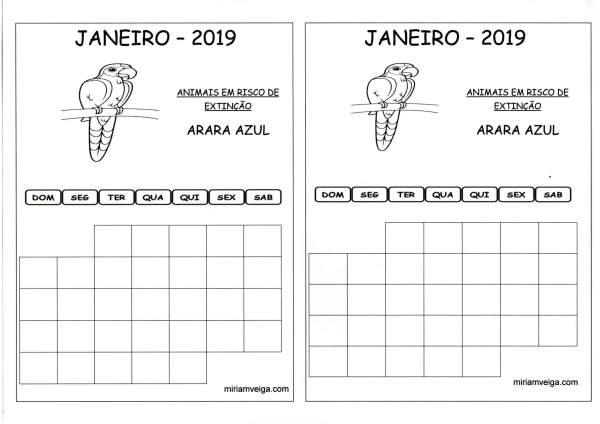 Calendário 2019 Janeiro-Aluno