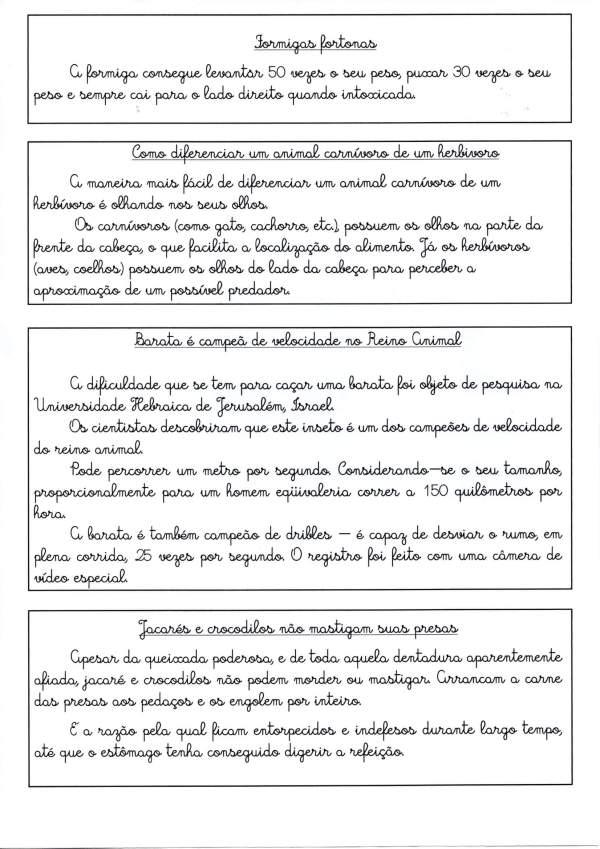 Textos para treinamento de Letra Cursiva