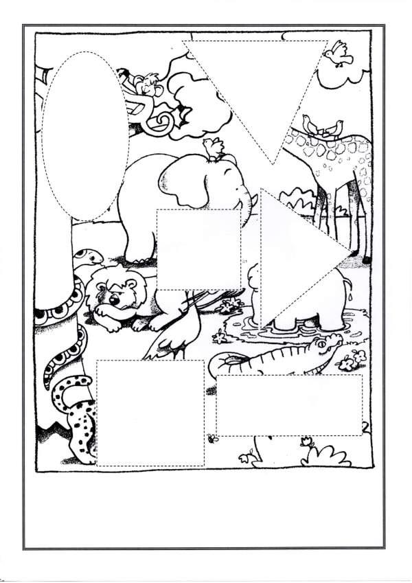 Quebra-Cabeça Animais-Com animais para montar-Folha 1