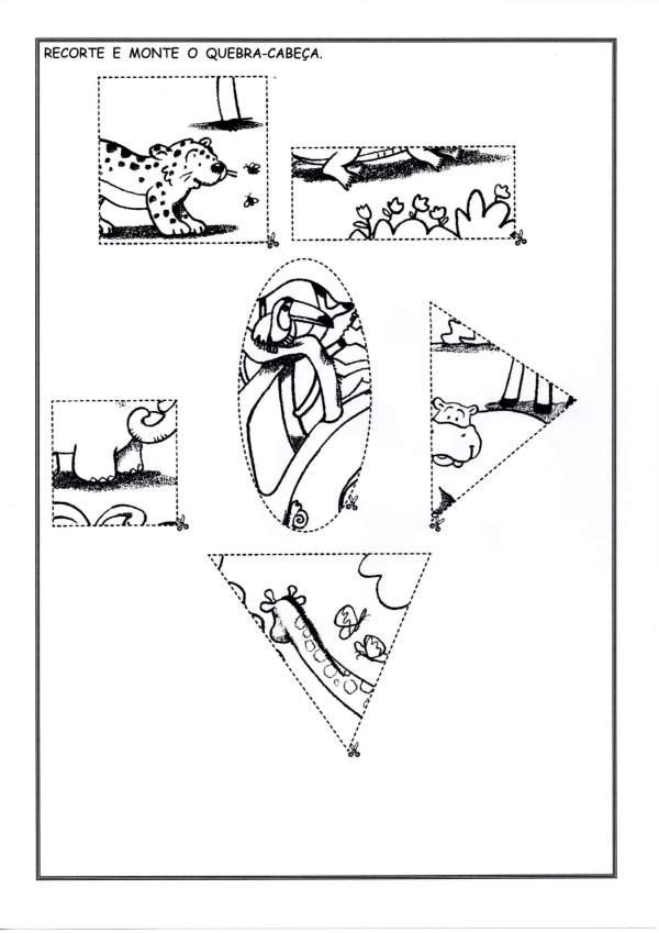Quebra-Cabeça Animais-Com animais para montar-Folha 2
