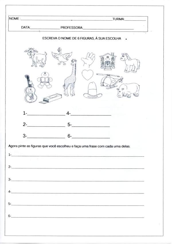 Escreva o nome das Figuras e faça as frases