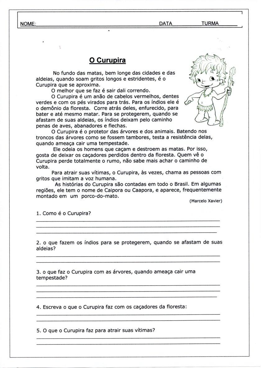 Folclore-Texto e interpretação-Curupira-Folha 1