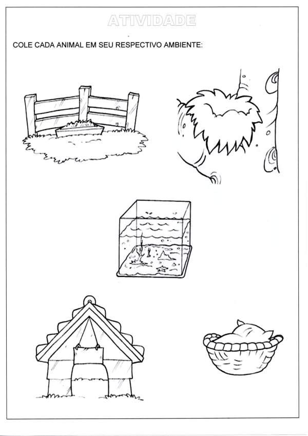 Educação Infantil-Recorte e colagem-O animal e seu ambiente-Folha 1