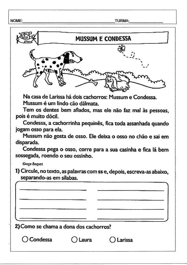 Interpretação de texto-Mussum e Condessa-Folha 1