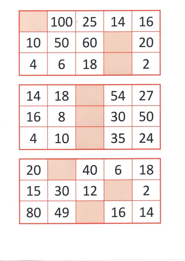 Bingo da Multiplicação-Cartelas e papéis para sorteio-Folha 1