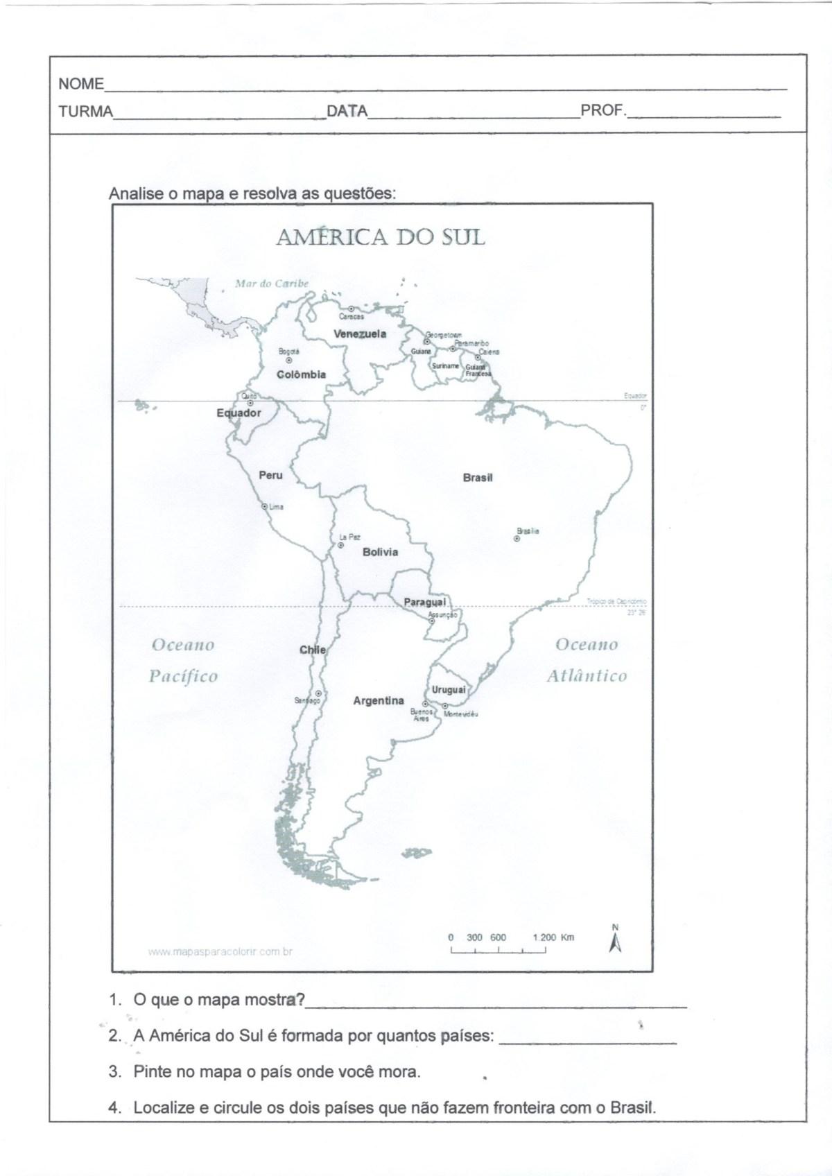 Avaliação de Geografia-América do Sul