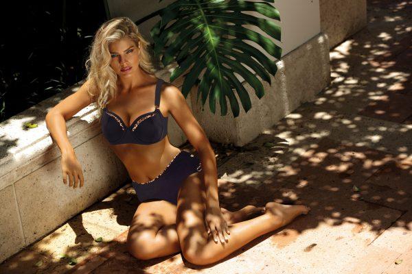Vollcup Bikini schwarz-leo für große Oberweite