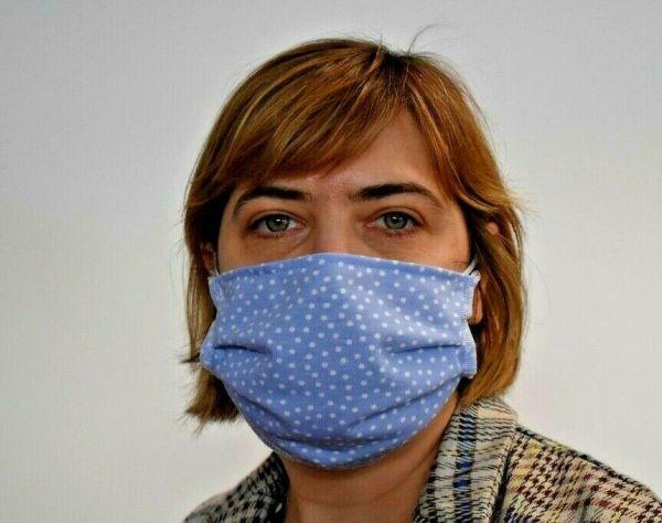 Schutzmaske Mundschutz Baumwolle Hellblau