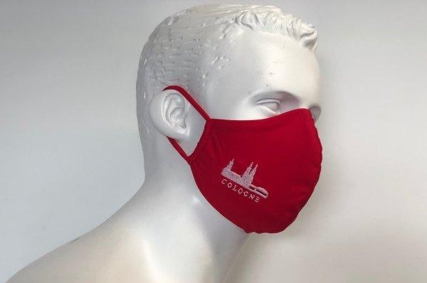 Behelfsmaske Schutzmaske Mundmaske rot Köln Cologne