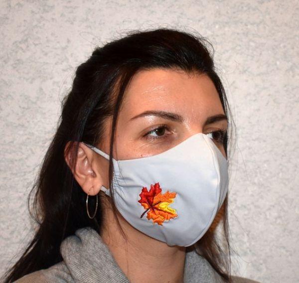 Behelfsmaske,Mundschutz,Schutzmaske,Mundmaske Ahornblatt bestickt