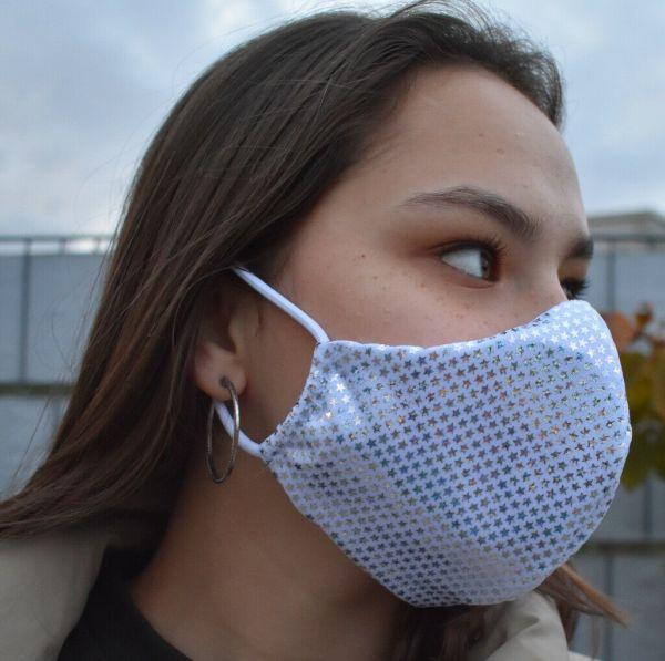 Schutzmaske, Mundschutz silber funkelnde glitzernde St