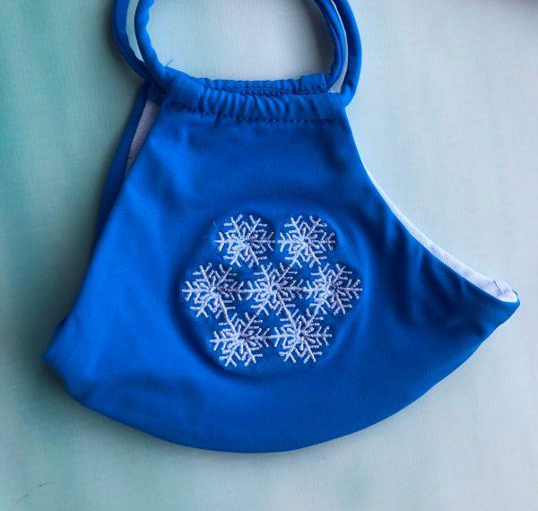 Mundmaske Schutzmaske Mundschutz blau mit Schneeflocke Stickerei