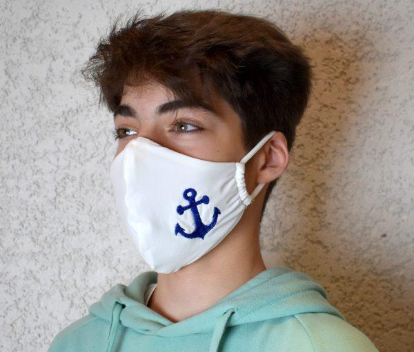 Mund-Nasen-Bedeckung mit Anker Stickerei