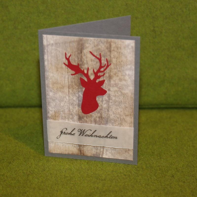 Weihnachtskarte mit Hirschkopf