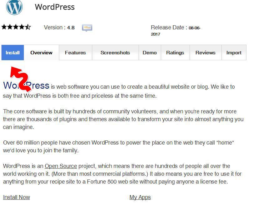 premere pulsante install wordpress