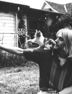 Kurt Cobain and a kitten