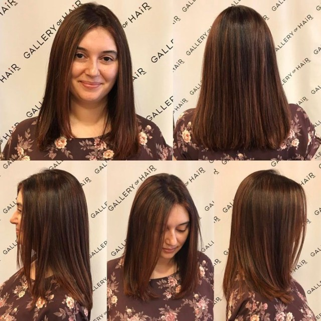 one length cut with textured ends and warm brunette color