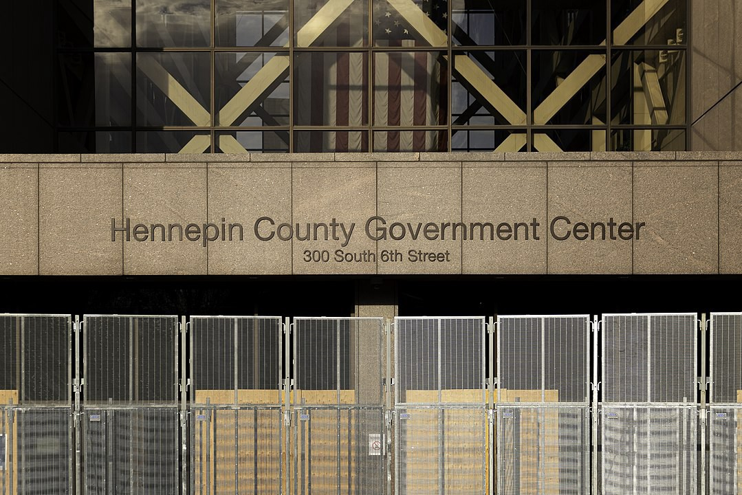 Photo of security fencing surrounding the Hennepin County Government Center.