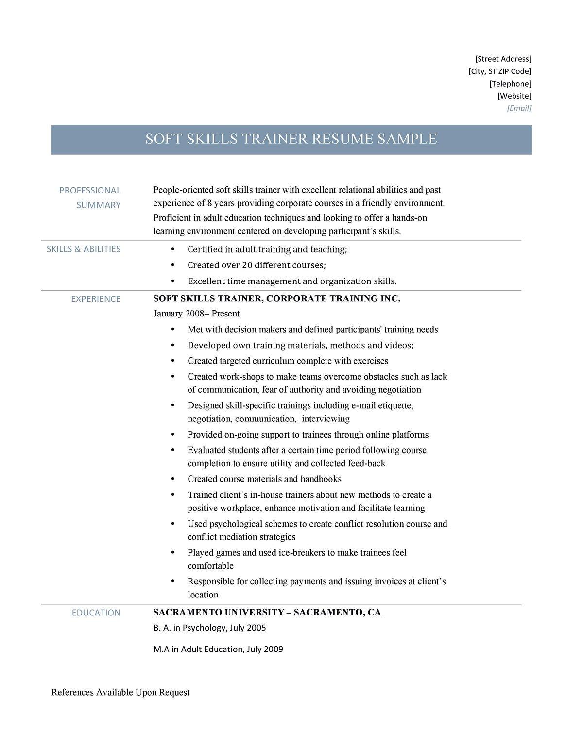 Soft Skills Trainer Resume Samples And Job Description