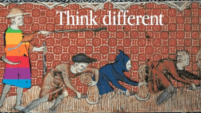A tapestry illustrating a manorial lord threatening agricultural peasants with a stick, captioned with Apple's 'Think Different' wordmark.