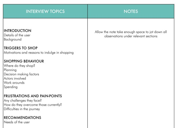 A table with one column breaking down the interview from the main topics and the other column blank for notes