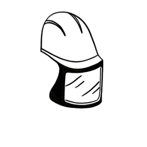A simple black-and-white drawing of a helmet with a face mask attached to it.