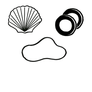 A simple black-and-white drawing of shells, 2 wooden rings, and a loop of string.