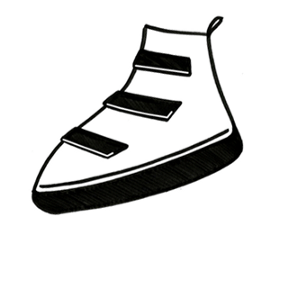 A simple black-and-white drawing of a shoe with 3 black velcro closures.