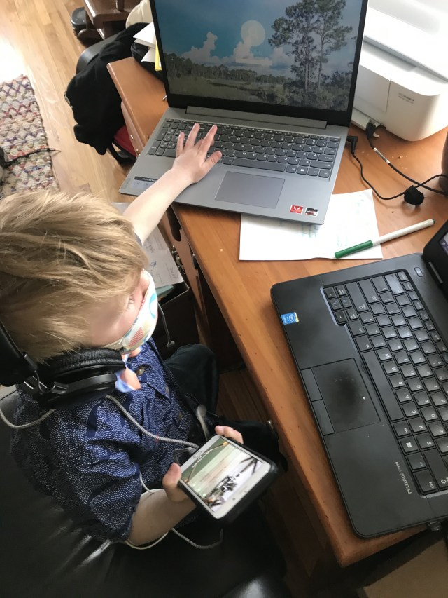 Nephew assisting  Kiara Nagel with virtual meetings.