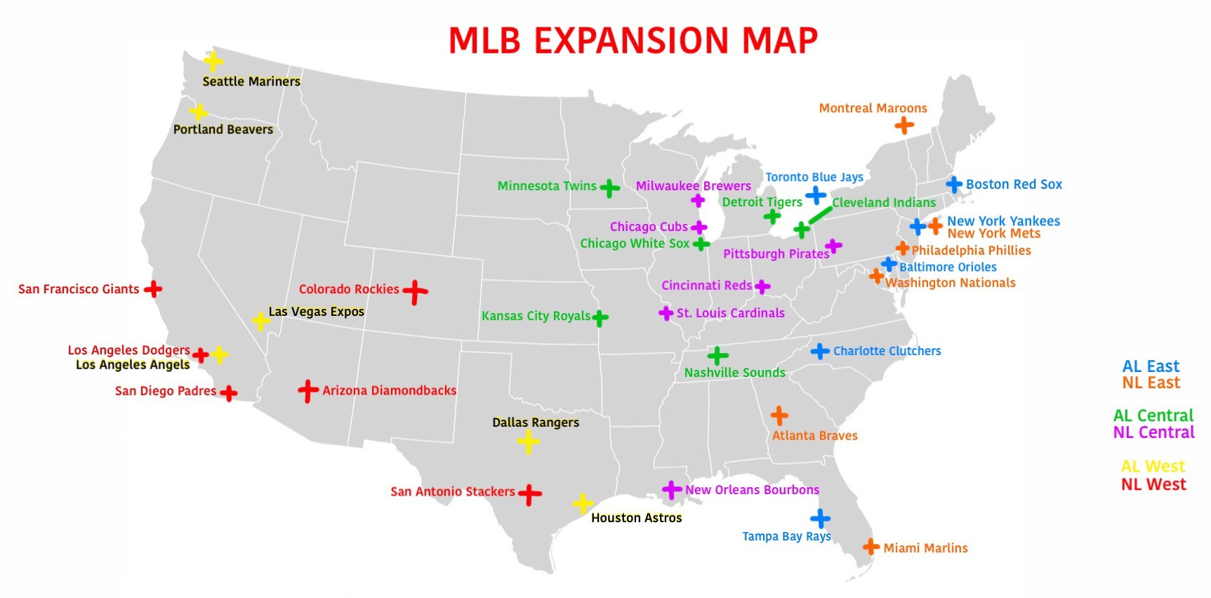 Map Teams Major Baseball Shown