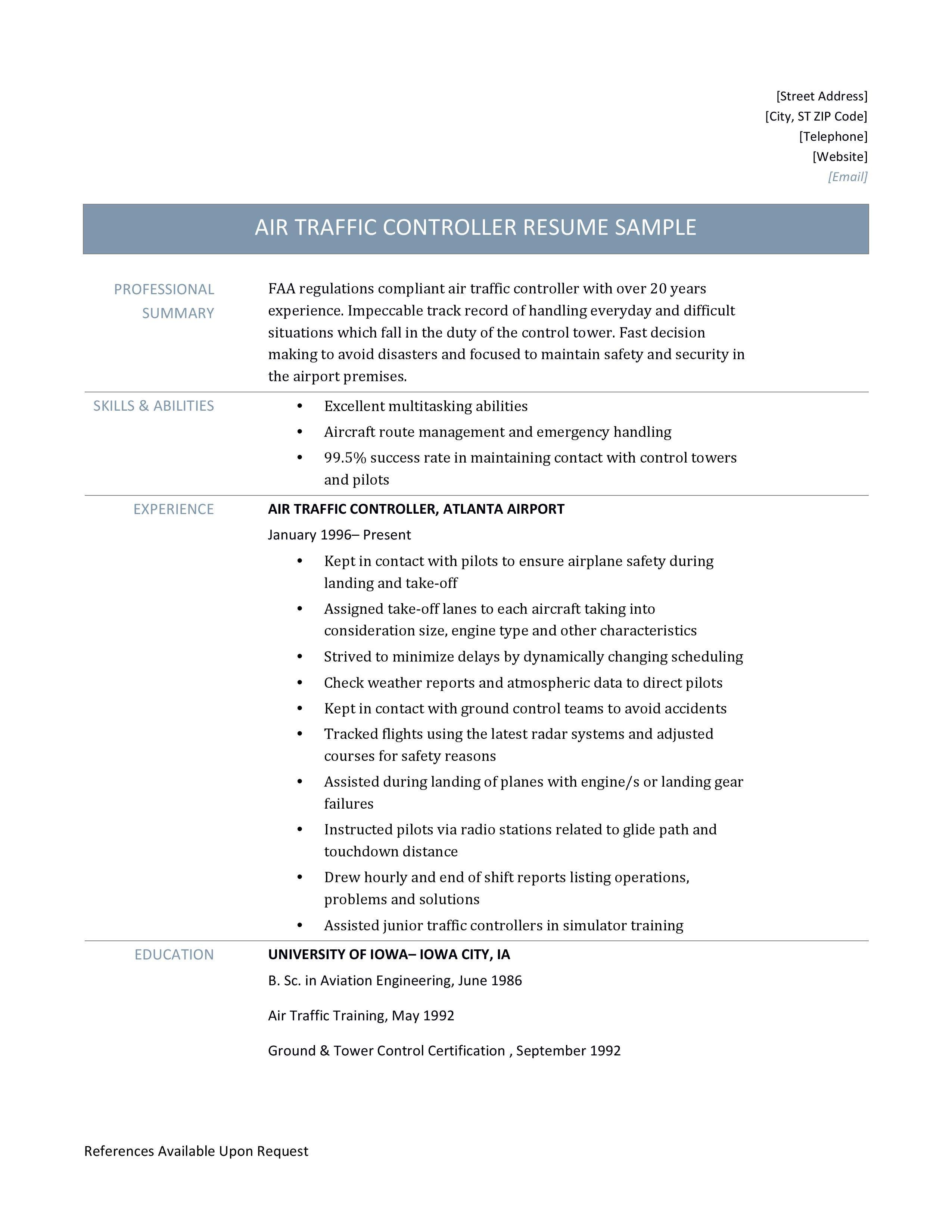 Air Traffic Controller Resume Online Resume Builders Medium