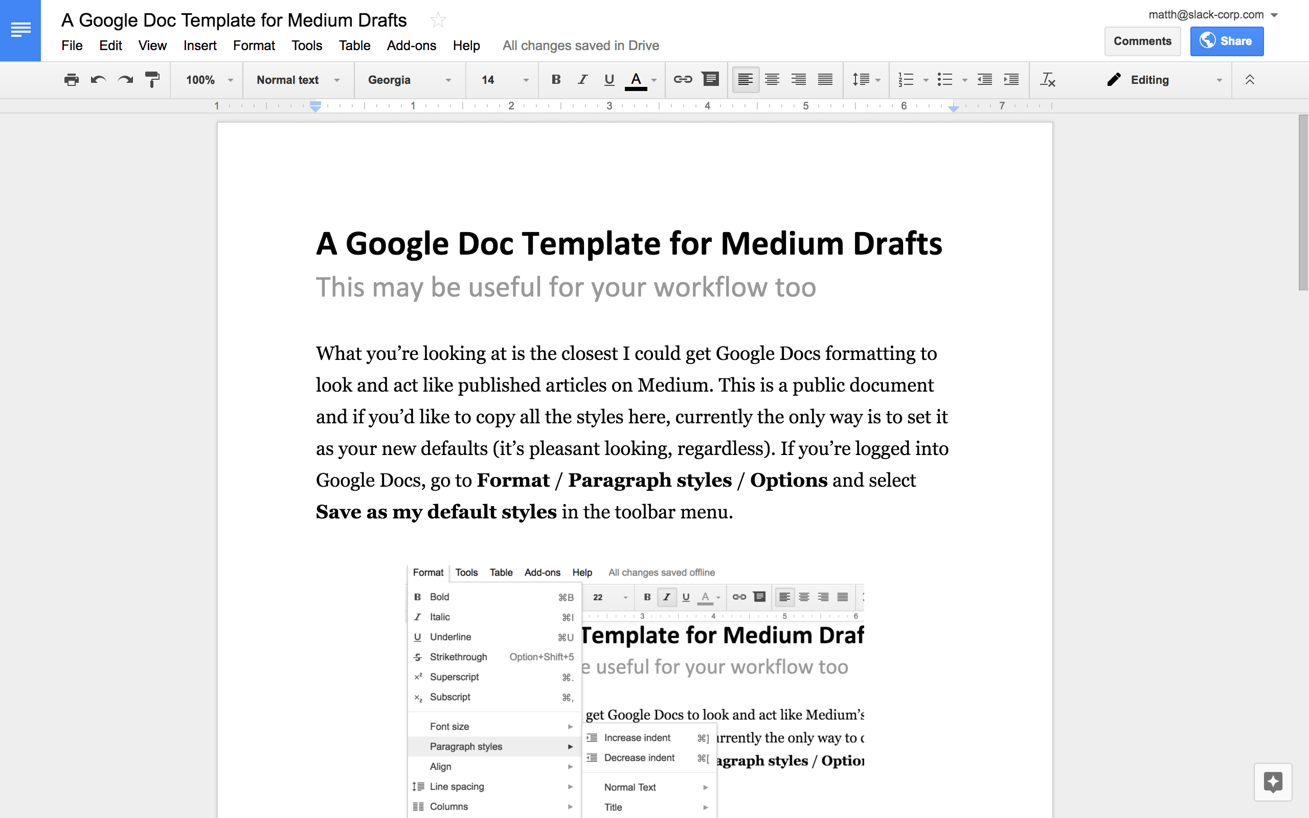 A Google Docs Template For Medium Writers 15 Minutes In