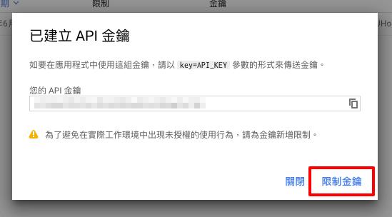 取得API Key後,點選「限制金鑰」