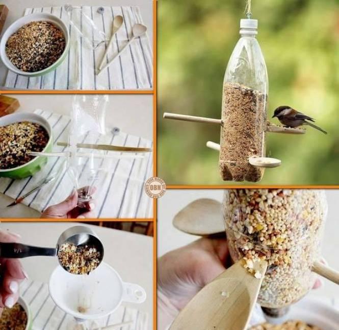 Kerajinan Tempat Makan Burung Dari Botol Bekas