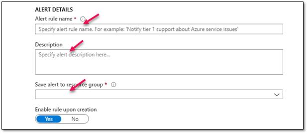 Azure Health Service notifications alert