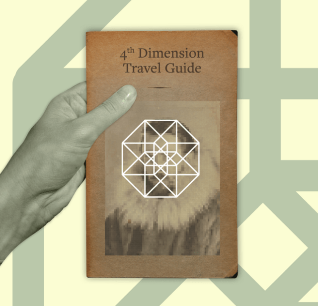 """A wider crop of the top image of a hand holding a book titled """"4th Dimension Travel Guide."""""""