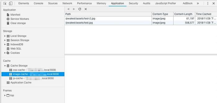cache存成功後,可以在開發人員工具看到存的檔案內容