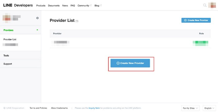點選「Create New Provider」