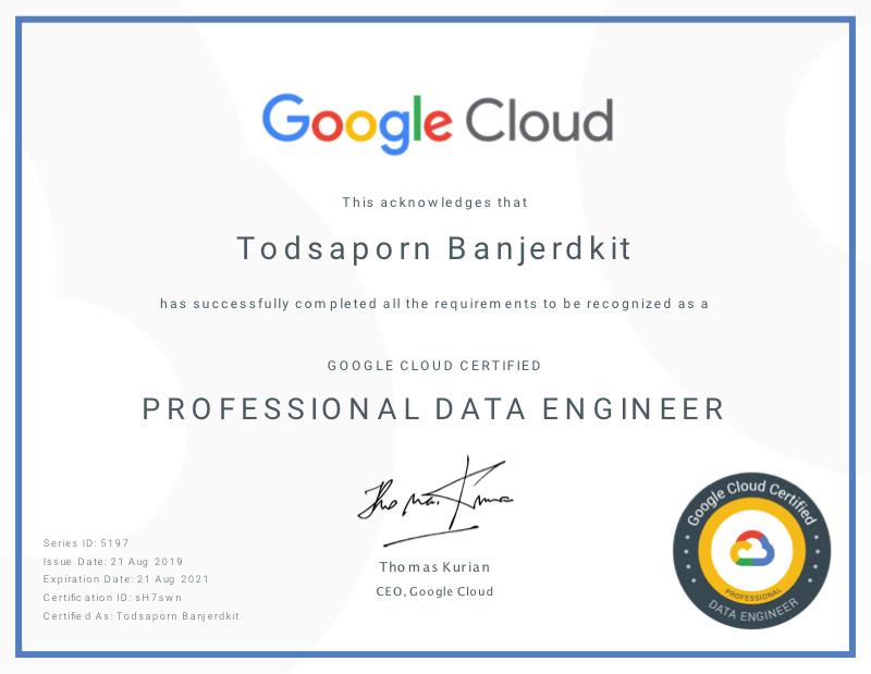 2019 Google Cloud Professional Data Engineer