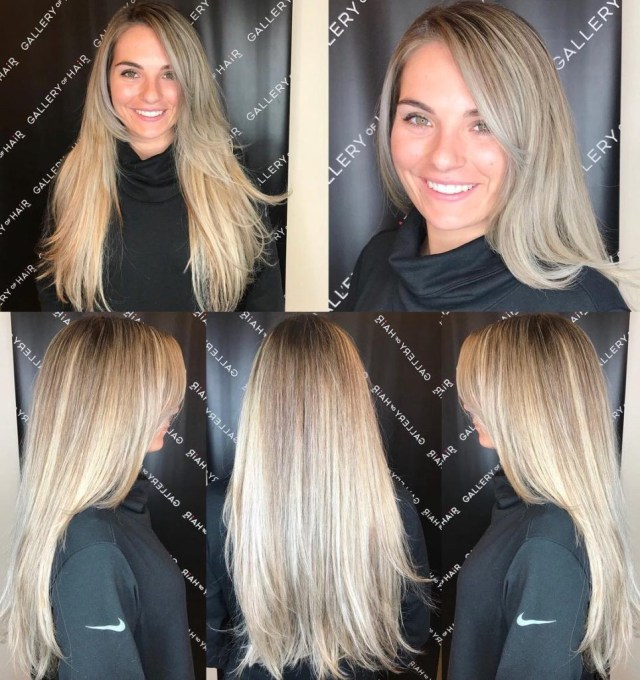 layered razor cut blowout with long side swept bangs and