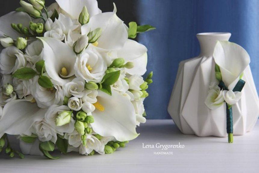 Bride Call Lily Bouquet Mirobel Handmade Flowers