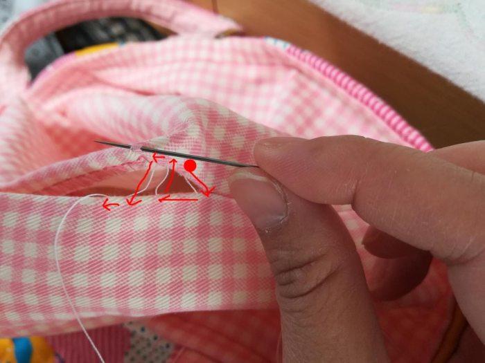 上履き入れの簡単な作り方手順:返し口をコの字とじで縫う